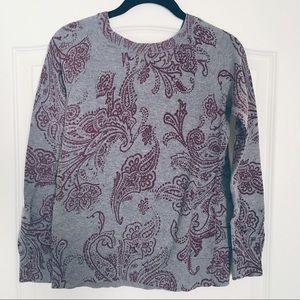 Grey w/ Burgundy Paisley Tulip Back Light Sweater